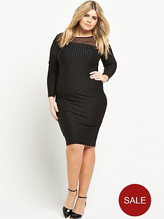 so-fabulous-pinstripe-mesh-panel-ponte-dress