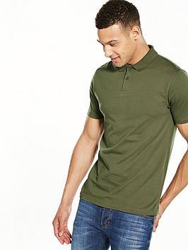 V By Very Short Sleeve Jersey Polo Shirt  Khaki