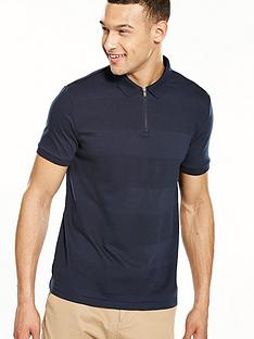 v-by-very-short-sleeve-textured-zip-polo