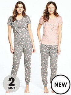 v-by-very-2-pack-feather-print-pyjama-set-greypinknbsp