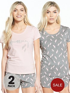 v-by-very-2-pack-feather-print-short-pyjama-sets