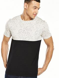 v-by-very-short-sleeve-colour-block-speckle-t-shirt