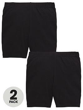 V By Very Schoolwear Girls School Cycling Shorts  Black (2 Pack)