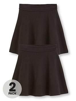 V by Very V By Very Girls 2 Pack Jersey School Skater Skirts - Black Picture