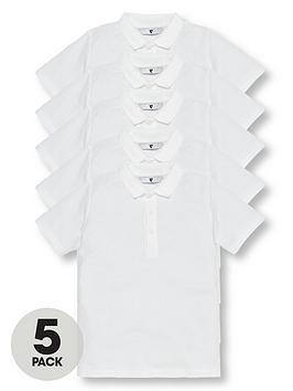 V by Very V By Very Boys 5 Pack Short Sleeve School Polo Shirts - White Picture