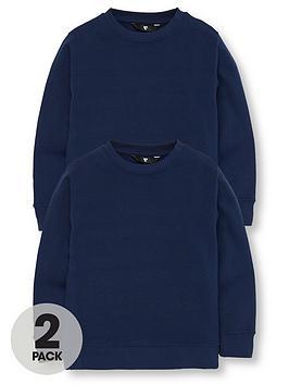 v-by-very-unisex-2-pack-crew-neck-school-sweatshirts-navy