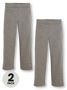 V By Very Schoolwear Girls Jersey School Trousers  Grey (2 Pack)