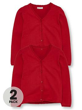 V by Very V By Very Girls 2 Pack Knitted School Cardigans - Red Picture