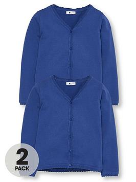 V by Very V By Very Girls 2 Pack Knitted School Cardigans - Royal Blue Picture