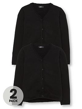 V by Very V By Very Girls 2 Pack Knitted School Cardigans - Black Picture