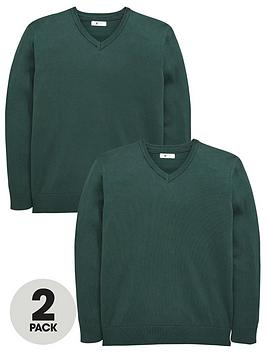 v-by-very-schoolwear-boys-v-neck-school-jumpers-green-2-pack