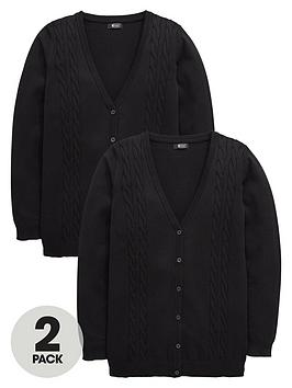 V By Very Schoolwear Girls Cable Knit Longline School Cardigans  Black (2 Pack)