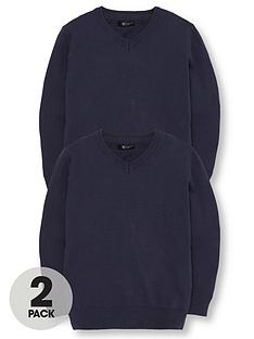 v-by-very-2-pack-v-neck-knitted-school-jumpers-navy