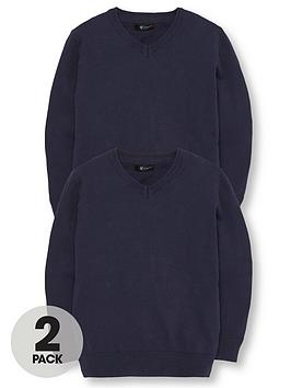 V by Very V By Very 2 Pack V Neck Knitted School Jumpers - Navy Picture