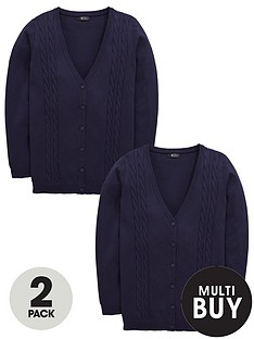 v-by-very-schoolwear-girls-cable-knit-longline-school-cardigans-navy-2-pack