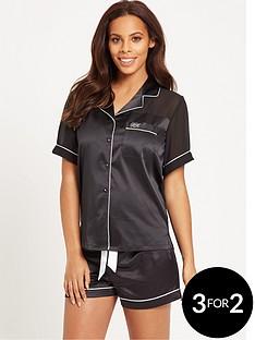 rochelle-humes-short-sleeve-chiffon-back-satin-short-set-black
