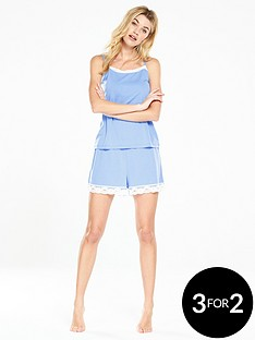 v-by-very-lace-trim-short-set-sky-blue