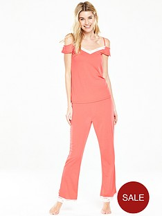 v-by-very-lace-trim-cold-shoulder-pj-set-coralnbsp