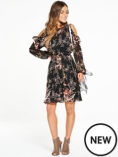 v-by-very-petite-cold-shoulder-frill-woven-floral-dress