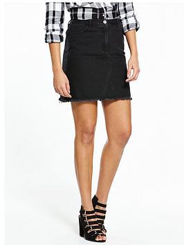 V By Very Fray Hem A Line Mini Skirt