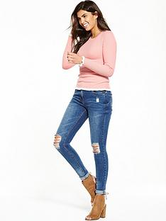 v-by-very-contrast-tipped-frill-and-cuff-hem-jumper-blush-pink