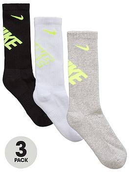 Nike Childrens 3Pk Graphic Crew Socks