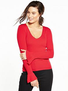 v-by-very-fluted-cuff-v-neck-jumper