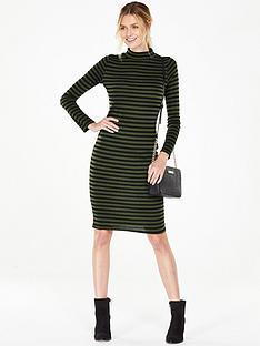 v-by-very-stripe-turtle-neck-bodycon-dress