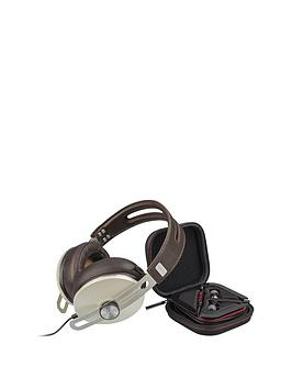 Sennheiser OverEar Momentum 2.0 Headphones (Ivory) And InEar Momentum Earphones (RedBlack) Bundle For Apple Ios