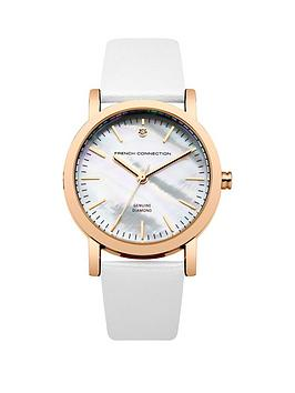 french-connection-ladies-mother-of-pearl-and-diamond-dial-silver-strap
