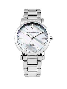 french-connection-french-connection-ladies-mother-of-pearl-and-diamond-dial-silver-strap-watch