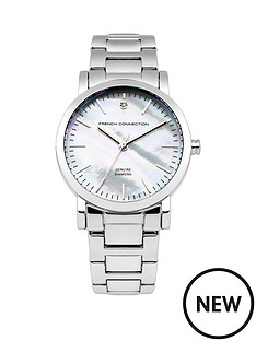 french-connection-french-connection-ladies-white-dial-silver-strap-watch