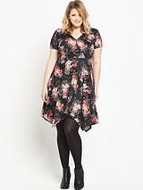 Printed Hanky Hem Jersey Dress