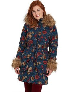 joe-browns-funky-faux-fur-trim-floral-parka-blue