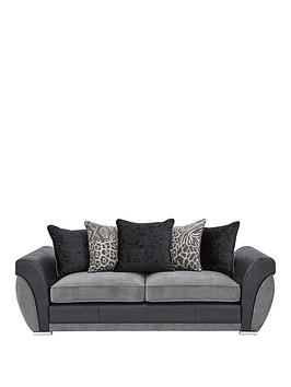 Very Hilton Fabric And Faux Leather 3 Seater Scatter Back Sofa Picture