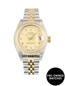 rolex-rolex-bimetal-datejust-champagne-roman-numeral-26mm-dial-steel-amp-18k-yellow-gold-ladies-watch-includ