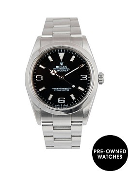 rolex-rolex-explorer-i-black-3-6-amp-9-36mm-dial-stainless-steel-oyster-bracelet-men039s-watch-2004-pre-own
