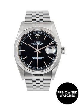 rolex-rolex-datejust-original-black-baton-36mm-dial-stainless-steel-men039s-watch-2004-pre-owned