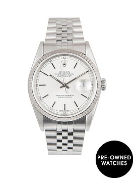 rolex-rolex-datejust-silver-baton-36mm-dial-stainless-steel-men039s-watch-1994-pre-owned