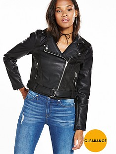 noisy-may-suedette-biker-jacket-black