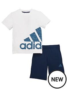 adidas-younger-boys-logo-shorts-set