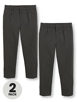 V by Very V By Very Boys 2 Pack Classic Woven Plus Fit School Trousers -  ... Picture