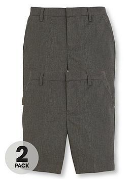v-by-very-boys-2-pack-teflonnbspschool-shorts-grey
