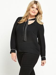 so-fabulous-contrast-piping-tie-front-blouse-black