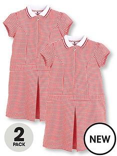 v-by-very-schoolwearnbspgirls-rib-collar-summer-gingham-school-dresses-red-2-pack