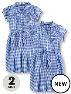 22521c7e938 V by Very Schoolwear Girls Traditional Gingham School Dresses - Blue (2  Pack)