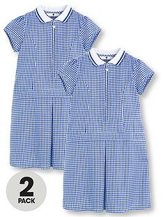 a397e2ce5cd V by Very Schoolwear Girls Rib Collar Gingham School Dresses - Blue (2 Pack)