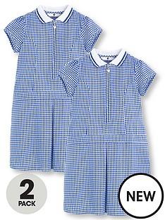 7a8669dd2e2 V by Very Schoolwear Girls Rib Collar Gingham School Dresses - Blue (2 Pack)