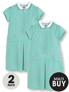 v-by-very-schoolwearnbspgirls-rib-collar-gingham-school-dressesnbsp--green-2-pack