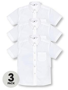 V by Very V By Very Girls 3 Pack Short Sleeve School Shirts - White Picture